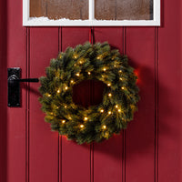 40cm Pre Lit Outdoor Christmas Wreath