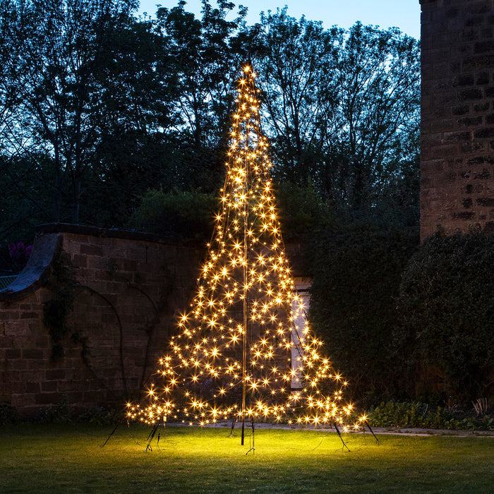 White Christmas Tree With Lights.4m Warm White Led Fairybell Outdoor Christmas Tree