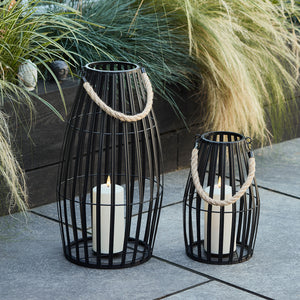 Canberra Slatted Outdoor Lantern Duo