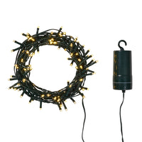 100 Warm White LED Outdoor Battery Fairy Lights On Green Cable