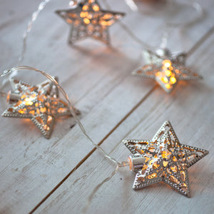 10 Warm White LED Filigree Silver Star Battery Fairy Lights