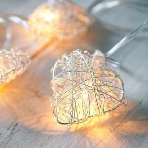 10 Warm White LED Metal Mesh Heart Battery Fairy Lights