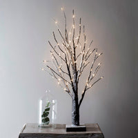 65cm Snowy Pre Lit Battery Twig Tree