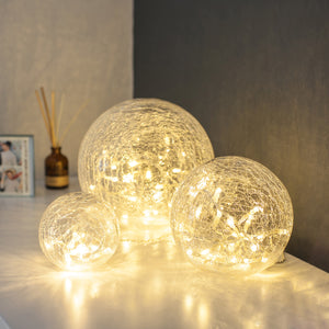 3 Clear Glass Fairy Light Orbs