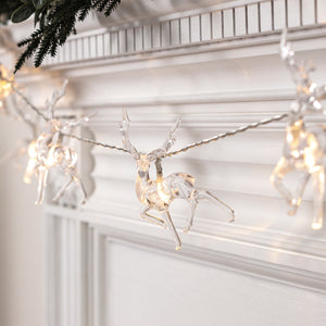 10 Warm White Reindeer Battery Christmas Fairy Lights
