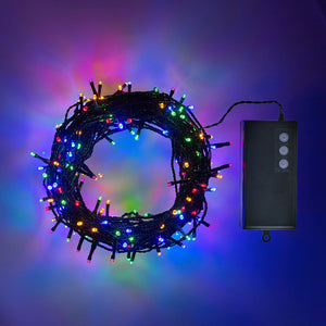 200 Multi Coloured LED Outdoor Battery Fairy Lights On Green Cable