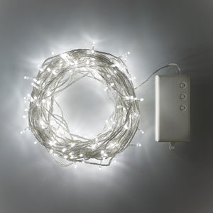 200 White LED Outdoor Battery Fairy Lights On Clear Cable