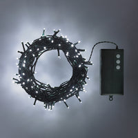 200 White LED Outdoor Battery Fairy Lights On Green Cable