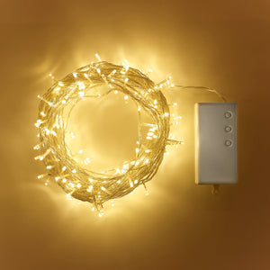 200 Warm White LED Outdoor Battery Fairy Lights On Clear Cable