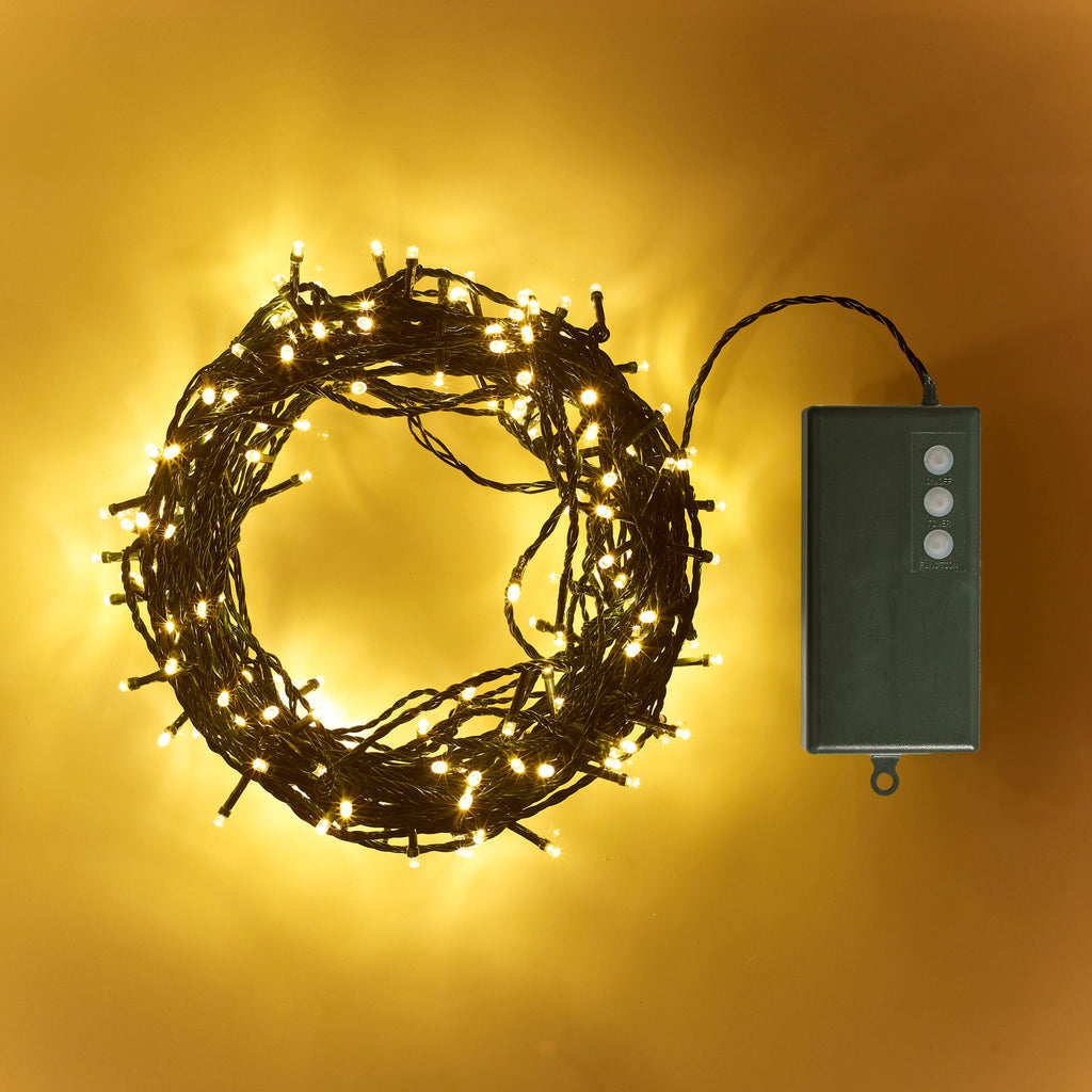 200 Warm White Led Outdoor Battery Fairy Lights On Green