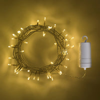 50 Warm White LED Outdoor Battery Fairy Lights On Clear Cable