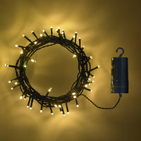 50 Warm White LED Outdoor Battery Fairy Lights On Green Cable