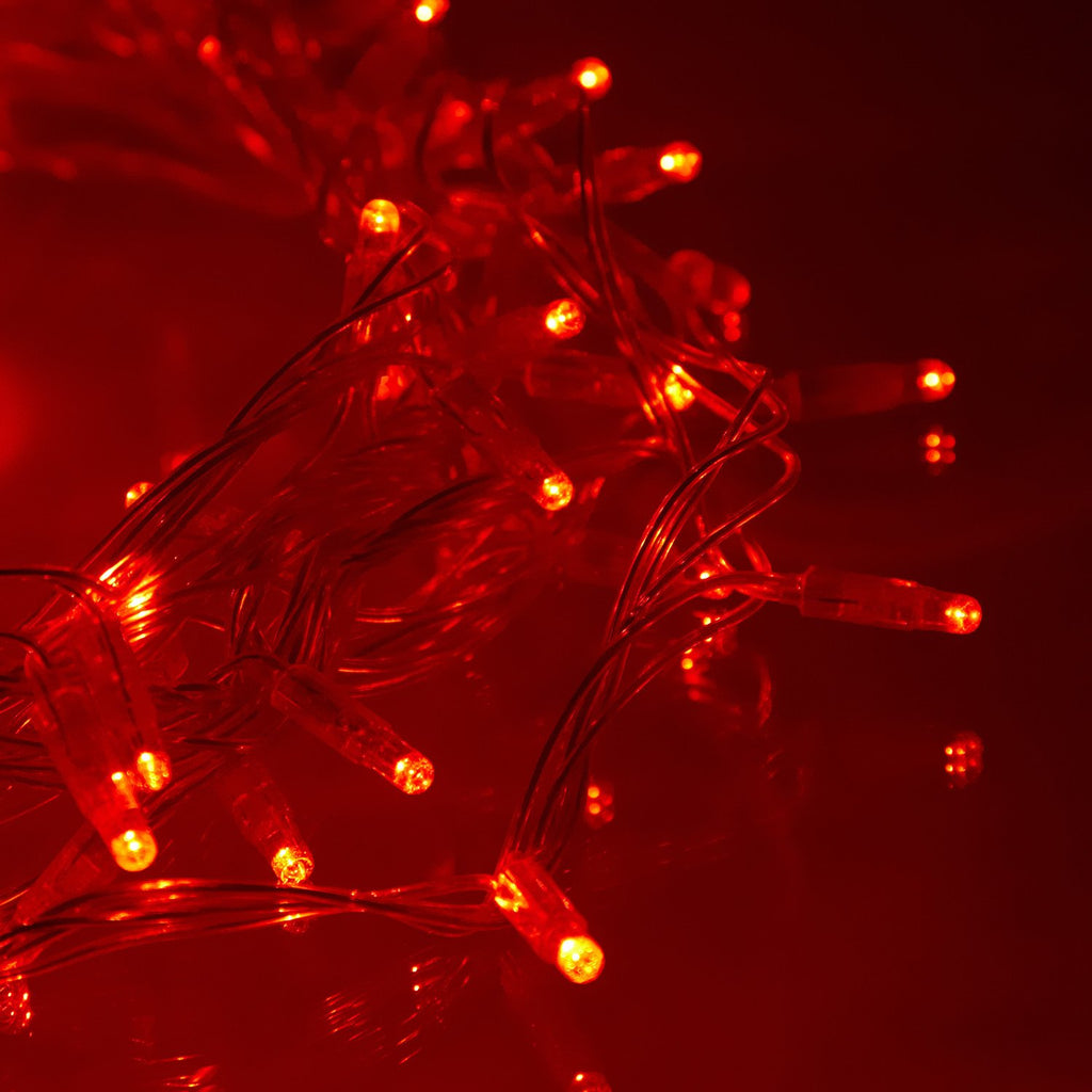 20m 200 Red Led Connectable Fairy Lights Clear Cable Core