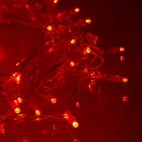 100 Red Led Connectable Fairy Lights Clear Cable 10M