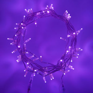 10m 100 Purple LED Connectable Fairy Lights Clear Cable Core Series