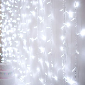 2m x 3m 288 White LED Connectable Curtain Lights Clear Cable Core Series
