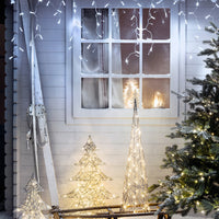 64 White Led Connectable Icicle Lights 2M