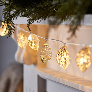 20 Silver Filigree Leaf Fairy Lights