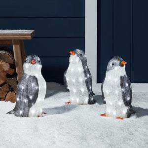 Outdoor Acrylic Penguin Figure Trio