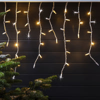 22m 1100 Warm White Sparkling LED Connectable Icicle Lights White Cable Pro Series