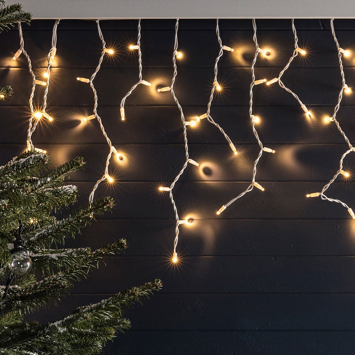 Christmas Lights White.26m 1300 Traditional Warm White Led Connectable Icicle Lights White Cable Pro Series