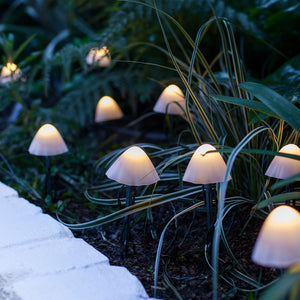 12 Mini Mushroom Solar Stake Lights