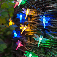 20 Multi Coloured Dragonfly Solar Fairy Lights