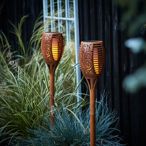 Set of 2 Living Flame Solar Tiki Torches