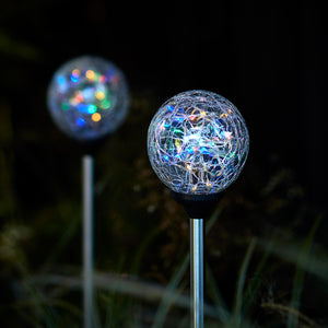 2 Crackle Glass Multi coloured Solar Stake Lights