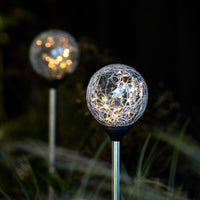 2 Crackle Glass Warm White Solar Stake Lights