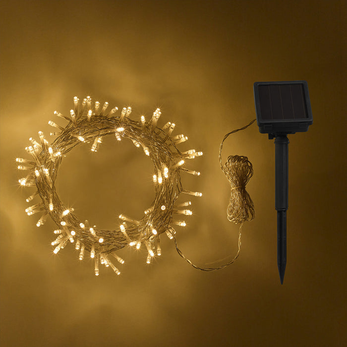 200 Warm White Led Solar Fairy Lights Clear Cable