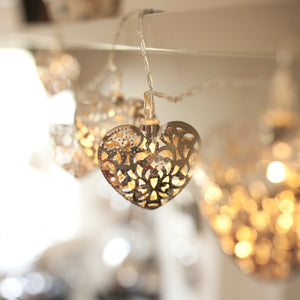 20 LED Silver Filigree Heart Indoor Fairy Lights