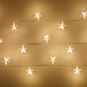 30 Warm White LED Star Fairy Lights On Clear Cable