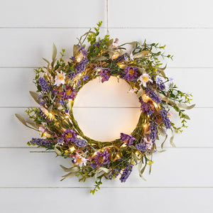 55cm Lavender Wreath Micro Light Bundle