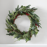 56cm Pine Wreath with Red Berries