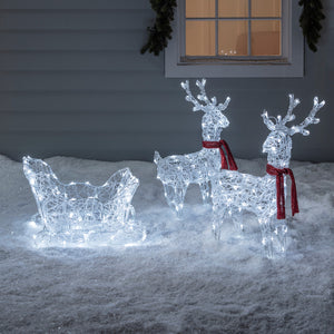 Reindeer & Sleigh Battery Acrylic Christmas Figure