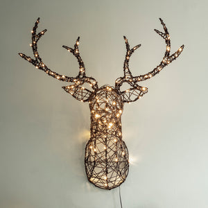 Rattan Stag Head Silhouette Christmas Light