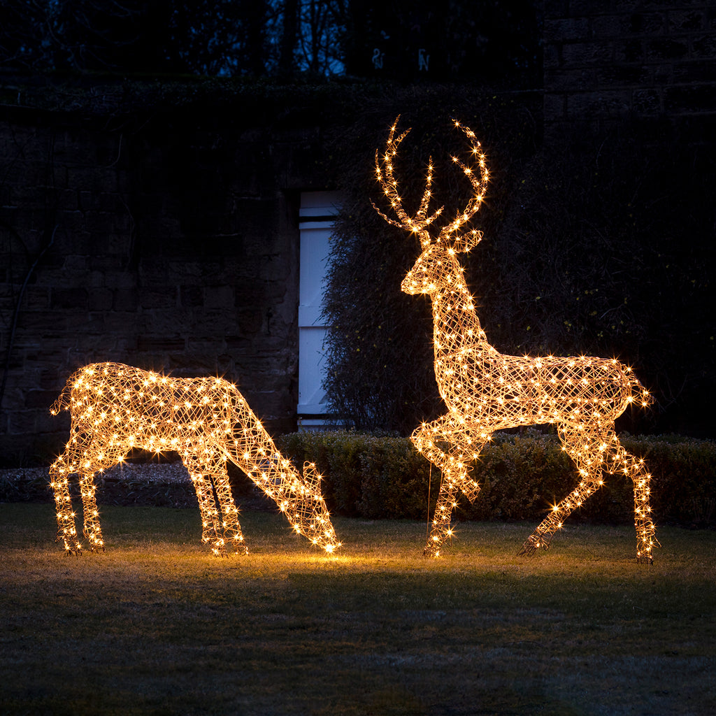 2m Rattan Stag Outdoor Christmas Figure Amp Lights4fun Co Uk