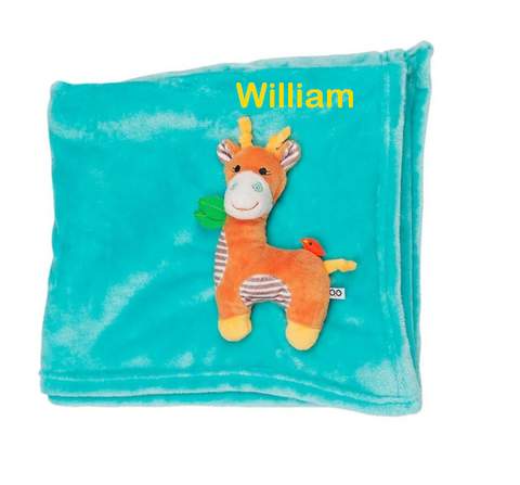Personalized Plush Velour 3-D Giraffe Blanket