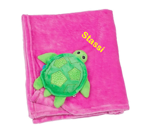Personalized Plush Velour 3-D Turtle Blanket