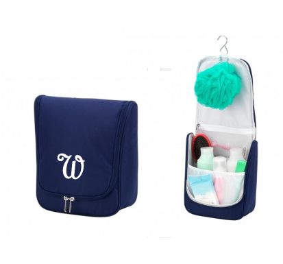 Personalized Navy Hanging Toiletry Bag