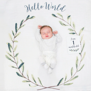 Baby's First Year Milestone Blanket & Card Set - Hello World Wreath!