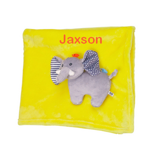 Personalized Plush Velour 3-D Elephant Blanket