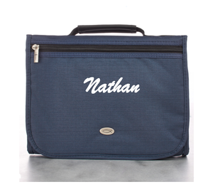 Personalized Polyester Tri-fold Organizer in Navy Bible Cover - Medium