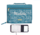 Personalized Faith Teal Tri-fold Organizer Bible Cover  - Medium