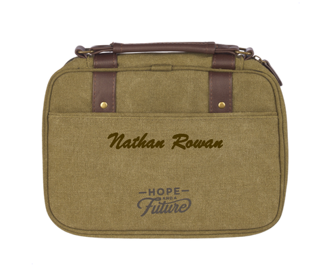 Personalized Hope and A Future Olive Canvas Bible Cover - Medium