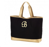 Personalized Large Black Canvas & Gold Cabana Tote