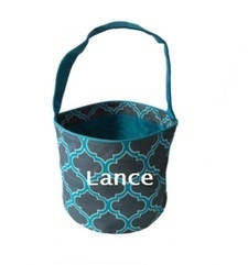 Personalized Gray Aqua Charfoil Easter Bucket