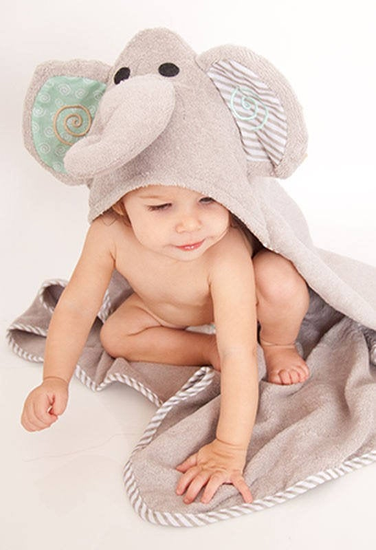 Toddler's Personalized Elephant Hooded Towel