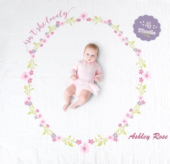 Personalized Baby's First Year Milestone Blanket & Card Set - Isn't She Lovely
